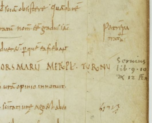 A carolingian and a humanist hand in the margin of Paris, BnF, Lat 2858, fol. 10r